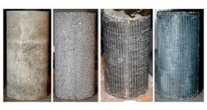Бетонные цилиндры, заключенные внутри полимера, армированного базальтовым волокном