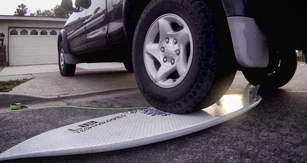 Lib Tech and Lost X surfboard with basalt fiber can withstand the weight of a truck